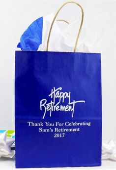 Retirement Gift Bags - Personalized - These are great for holding party favors. Retirement Party Favors, Personalized Retirement Gifts, Retirement Celebration, Best Places To Retire, Party Gift Bags, Welcome Gifts, Goodie Bags, Thank You Gifts, House Party