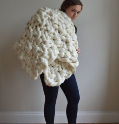 Super Chunky Blanket  Moss Stitch Merino Knit Throw