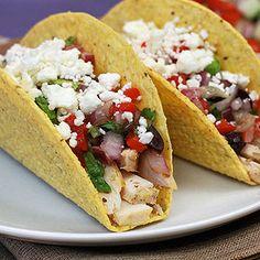 dinner, hungri girl, fusion taco, chicken tacos, food, healthi, taco recipes, greek chicken, taco shells
