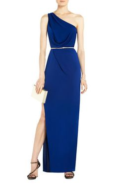 Snejana One-Shoulder Evening Gown   BCBG