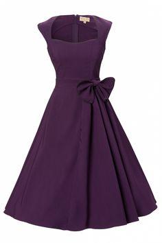 1950's Grace Purple Bow vintage style swing party rockabilly evening dress Good.