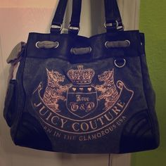 JUICY COUTURE shoulder bag Gray, black and light pink. Authentic Juicy Couture. Minimal wear & tear, and in fantastic condition. No stains, has been washed once, but shows no damages. Leather straps, velvet exterior design complete with logo in pink and a cute bow around the top. Juicy Couture Bags Shoulder Bags