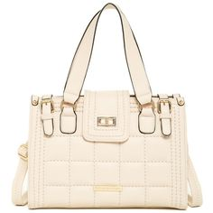 Catherine Catherine Malandrino Stephanie Satchel ($55) ❤ liked on Polyvore featuring bags, handbags, peach, pink handbags, quilted handbags, foldover purse, zipper purse and handle satchel