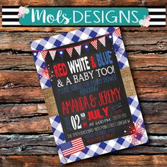 JULY 4th BBQ Labor Day Cookout Flags Fireworks BURLAP Chalkboard Red White Blue and A Baby Too Gingham Wedding I Do Baby Q Shower Invitation