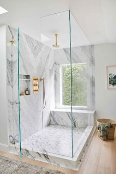 Inspiring Bathroom Decor Ideas If you're lucky enough to live on a large lot surrounded by nature (instead of neighbors), a strategically placed window is a great way to bring the outdoors in. (📷: Link in bio for moreRead More Modern Bathroom Design Bad Inspiration, Bathroom Inspiration, Small Bathroom, Master Bathroom, Bathroom Ideas, Tile Bathrooms, Bathroom Canvas, Bathroom Marble, Neutral Bathroom