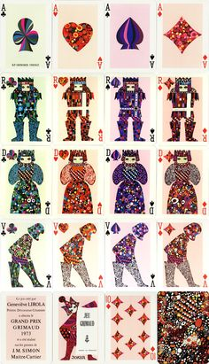 playing cards designed by Geneviève Lirola in 1973