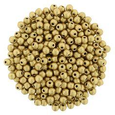 5-02-K0171 Round Beads 2mm : Matte Metallic Flax