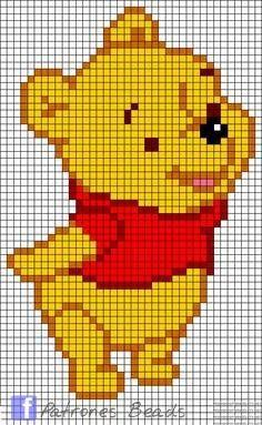 Winnie The Pooh perler pattern - Patrones Beads / Plantillas para Hama