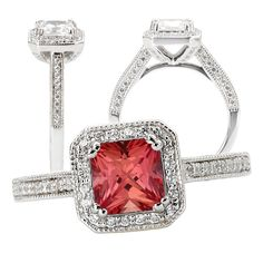 SPECIAL ORDER ONLY 18K Elite Collection Chatham 5.5mm princess cut padparadscha orange sapphire diamond halo engagement ring