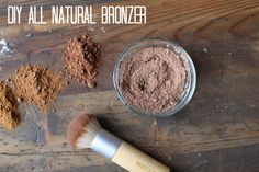 DIY Bronzer::Cocoa powder, ground nutmeg, cornstarch, and ground cinnamon. Mix til desired color and store in an empty, sealable container. Interesting...I want to try this!