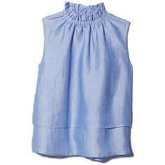 Sleeveless Layered Top Goop ❤ liked on Polyvore featuring tops, sleeveless tops, sleeveless chambray top, victorian top, double layer top and blue top