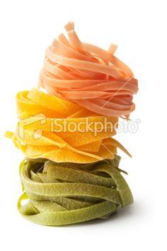 Italian Ingredients: Tagliatelle Tricolori   Stock Photo   iStock