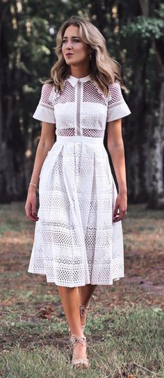 #summer #outfits White Lace Dress // Shop this outfit in the link
