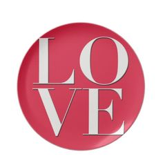 Red Love Logo design dinner plates. Now $24.95