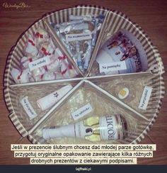 Jak zapakować pieniądze na prezent? - Jeśli w prezencie ślubnym chcesz dać młodej parze gotówkę,  przygotuj oryginalne opakowanie zawierające kilka różnych drobnych prezentów z ciekawymi podpisami.