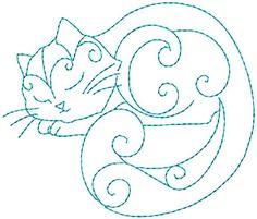 Hand Embroidery Patterns Redwork Kitty by StitchXEmbroidery