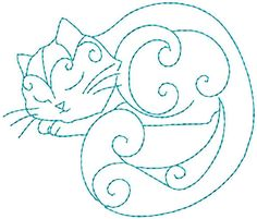 Hand Embroidery Patterns Redwork Kitty by StitchXEmbroidery, no pattern available