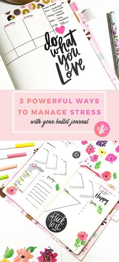 Need some inspiration from your BuJo? Here are 3 simple but powerful ways this creative uses her bullet journal for stress management and motivation. Bullet Journal Hacks, Bullet Journal Printables, Bullet Journal How To Start A, Bullet Journal Spread, Bullet Journal Layout, My Journal, Bullet Journal Inspiration, Journal Pages, Bullet Journals