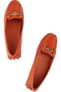 Tory Burch~Daria snake-effect leather loafers