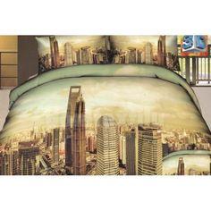 Béžovo zelená posteľná súprava bavlnených obliečok s motívom mesta Linen Bedding, Bed Linen, Amsterdam, Clouds, Blankets, Linen Sheets, Bed Linens, Bedding, Blanket