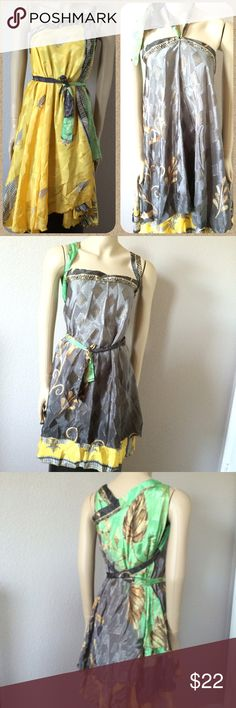 """Reversible magic wrap -- yellow/gray/green Such a cool wrap!  Wear it in sooooo many different ways!!  Reversible, so it's like double infinity!  One size.  Top hem is 50"""", 29"""" long.  Can be worn as skirt, dress, halter, kimono, whatever!!  Walk out of the beach, throw this on and party on!!  NWOT! Dresses"""