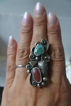 Vintage Pawn Navajo PHIL CHAPO Signed Turquoise & Coral Sterling Silver Ring Sz8 in Jewelry & Watches, Ethnic, Regional & Tribal, Native American | eBay