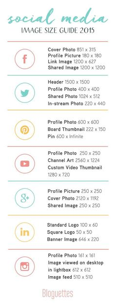 Social Media Image Size Guide 2015!:   // A quick guide when making images for your therapy practice social media efforts