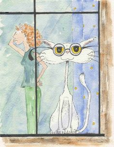 """""""Now where did I put them? They're not on top of my head..."""" - Sharon Bowman  :D :D   #cat #illustration #funny"""