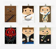 Star wars art print 5 x 7 set of 6 (Set B). $42.00, via Etsy.