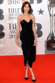 Brit Awards 2016: Alexa Chung in a Preen velvet black dress
