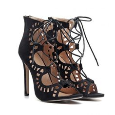 Black Suede Cutouts Lace-up High Heels