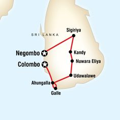 Map of the route for Cultural Sri Lanka