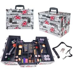 SHANY Essential Pro Makeup Train Case with Shoulder Strap and Locks Makeup Train Case, Professional Makeup Artist, Just In Case, Locks, Shoulder Strap, Essentials, Cases, London, Brown