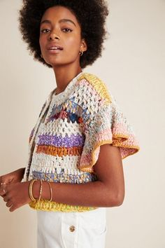 Crafted with care from recycled saris, this cardigan is a colorful complement to polished denim and pencil skirts alike. Cropped Cardigan, Black Cardigan, Lany, Crochet Clothes, Hand Knitting, Finger Knitting, Knit Crochet, Knit Cowl, Crochet Granny