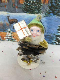 Vintage Pine Cone Pixie Elf NEW OLD STOCK  Nice  JAPAN  (766)