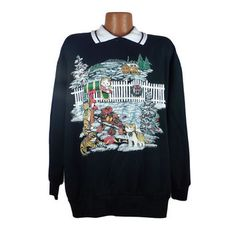 Ugly Christmas Sweater Vintage Sweatshirt Cats Scene Party Xmas Tacky Holiday 1X