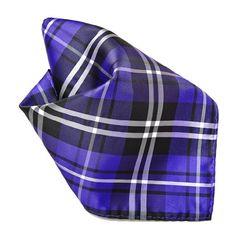 Purple Black White Plaid Design Mens Hankerchief Pocket Square Hanky -- For more information, visit image link.