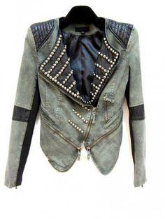 Leather Denim Biker Style Embelished Jacket by MischaLove on Sense of Fashion
