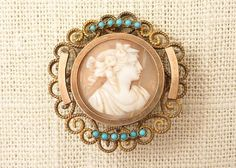 Antique Victorian Gold Fill Shell Cameo Brooch by MindiLynJewelry