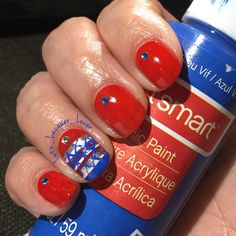 Instagram: Lutz_Lacquer_Lover 4th of July Nails! The red is #OPI Fashion A Bow. Accent nail is done with acrylic craft paints and a silver Stripe Rite nail striping paint. Little gems are from the Dollar Tree. #fourthofjulynails #redwhitebluenails   #diynails #ididitmyself #nailart #nailartamateur #followme #polishaddict #floridanailgirl #tampanailgirl #healthynails #summernails