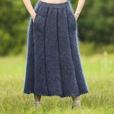 Hand knitted mohair skirt in bluish gray, one size