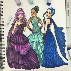 (Which one do you choose?(Which one do you choose? Descendants Characters, Disney Channel Descendants, Disney Descendants 3, Descendants Costumes, Kawaii Disney, Cute Disney, Disney Art, Disney Princess Drawings, Disney Drawings