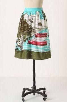 Vera Neumann nautical pattern skirt