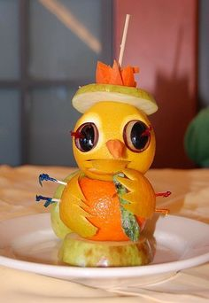 """Orange Bird Raeden described this by saying """"that is chicka made out of oranges on a plate"""" lol"""