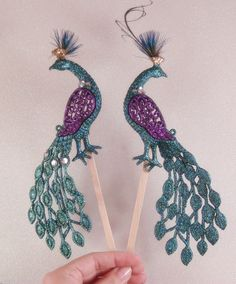 PEACOCK Wedding CAKE TOPPERS with sparkling swarovski crystals / bird cake topper / peacock cake topper bridal peacock. $52.00, via Etsy.