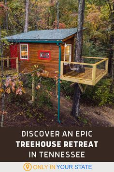 Upgrade from camping to glamping. This eco-friendly resort in Tennessee offers a variety of charming treehouse cabins. Spend the night for a unique, relaxing vacation. Beautiful Places In America, Tennessee Cabins, Best Bucket List, Treehouse Cabins, Hidden Beach, Local Attractions, Swimming Holes, Diy Videos, Natural Wonders