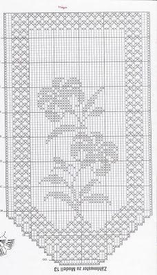 Crochet and arts: Cortinas Crochet Curtain Pattern, Crochet Curtains, Crochet Doily Patterns, Curtain Patterns, Crochet Borders, Crochet Doilies, Crochet Flowers, Crochet Stitches, Annie's Crochet