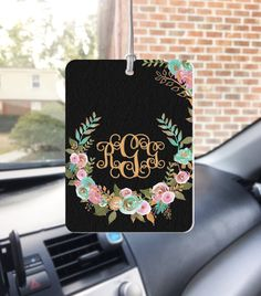 Mint and Gold Floral Air Freshener Car Monogrammed Auto Air Freshner Personalized Custom Designed Cute Car Accessories For Women Car Decor by ChicMonogram on Etsy