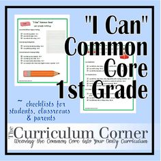 """""""I Can"""" Common Core standards for first grade!  Make sure your first graders and their families KNOW what they are learning by sharing these cute and simple posters in your classroom and with parents.  Kid friendly words and phrasing REALLY helps kids understand what they're learning!"""