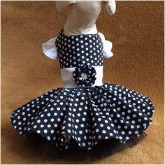 Black and White Polka Dots Dog Dress
